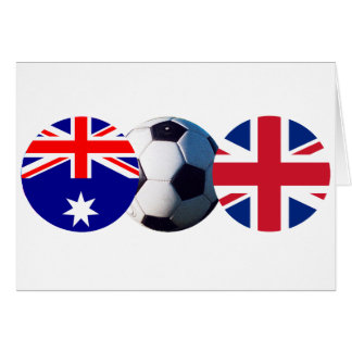 Soccer Ball Australia & UK Flag jGibney The MUSEUM Greeting Card