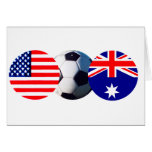Soccer Ball Australia & USA Flag The MUSEUM Zazzle Greeting Cards