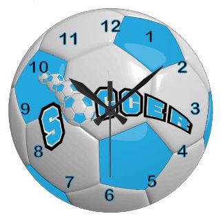 Soccer Ball | Baby Blue Large Clock