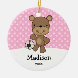 Soccer Ball Bear Pink Kids Personalized Christmas Ceramic Ornament
