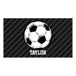 Soccer Ball; Black & Dark Gray Stripes Double-Sided Standard Business Cards (Pack Of 100)