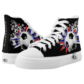 soccer ball blowout red white and blue high tops