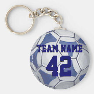Soccer Ball Blue and White Name and Number Key Ring
