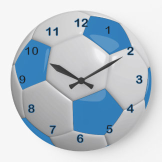 Soccer Ball | Blue Large Clock