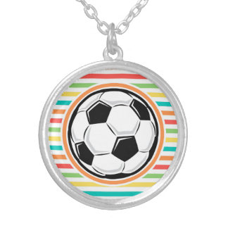Soccer Ball Bright Rainbow Stripes Necklace