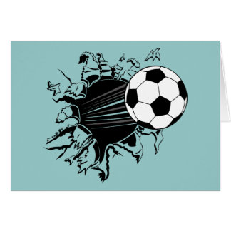Soccer Ball Busting Out Card