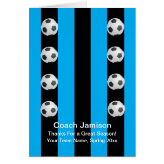 Soccer Ball Card for Coach, Blue, Blank Inside