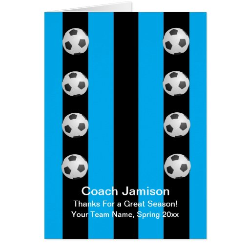 Soccer Ball Card for Coach, Blue, Blank Inside