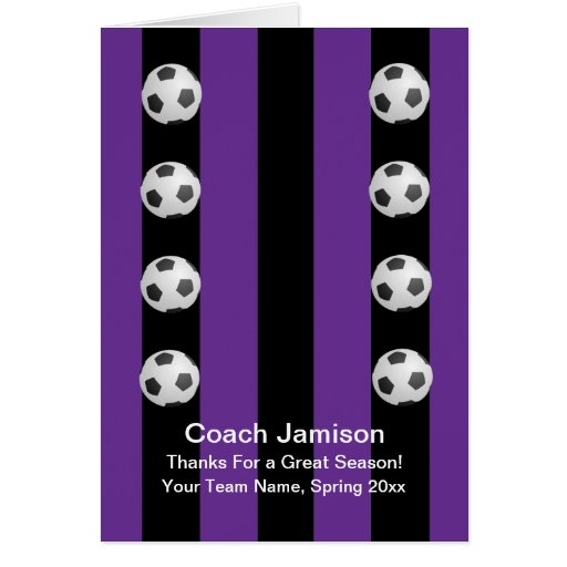 Soccer Ball Card for Coach, Purple, Blank Inside