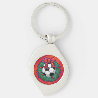 Soccer Ball Christmas Silver-Colored Swirl Key Ring