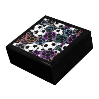 Soccer Ball Collage Large Square Gift Box
