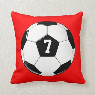Soccer Ball Custom Jersey Number Throw Pillow