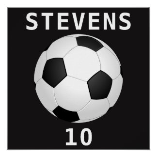 Soccer Ball (Football) Name and Number Poster