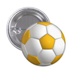 Soccer ball (futbol) pin / button - yellow gold