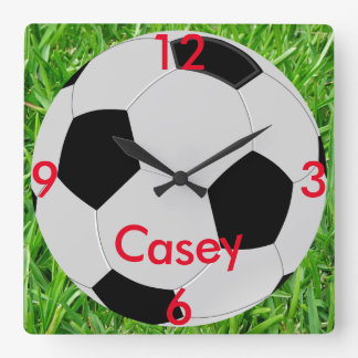 Soccer Ball Grass Name Wall Clock