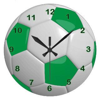 Soccer Ball | Green Large Clock