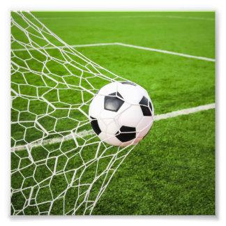 Soccer Ball Hitting Goal Net Photographic Print