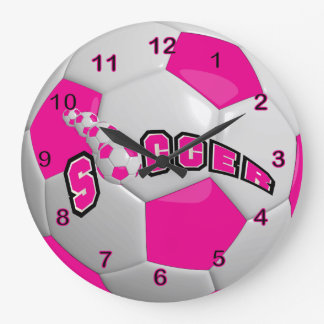 Soccer Ball | Hot Pink Large Clock