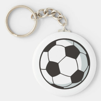 Soccer Ball in Cartoon Style Basic Round Button Key Ring