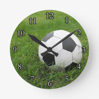 Soccer Ball in Grass Clocks