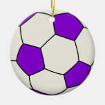 Soccer Ball in Purple Christmas Ornaments