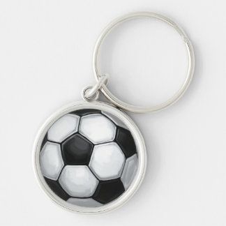 Soccer Ball Silver-Colored Round Key Ring