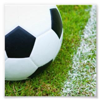 Soccer Ball on Grass Closeup Photo Print