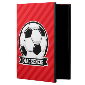 Soccer Ball on Red Diagonal Stripes iPad Air Case