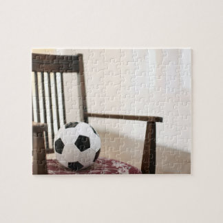 Soccer ball on the chair jigsaw puzzle
