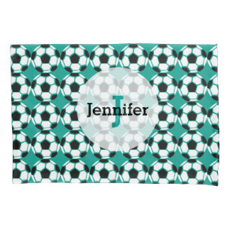 Soccer Ball Pattern Personalized Unique Green Kids Pillowcase