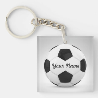Soccer Ball Personalized for Sports Occasions Single-Sided Square Acrylic Key Ring