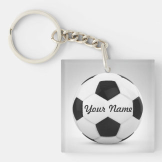 Soccer Ball Personalized Gift Ideas Double-Sided Square Acrylic Key Ring