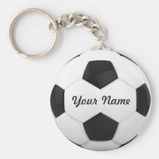 Soccer Ball Personalized Name Basic Round Button Key Ring