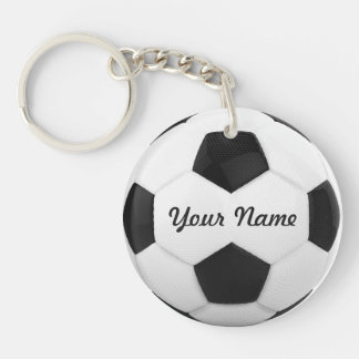 Soccer Ball Personalized Name Sport Double-Sided Round Acrylic Key Ring
