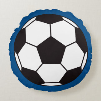 Soccer ball pillow - round with blue background