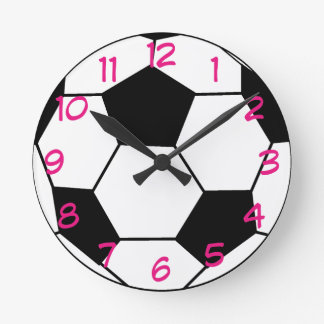 Soccer Ball Pink Accent Wall Clock