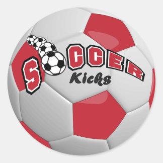 Soccer Ball Players Kicks    Dark Red Round Sticker