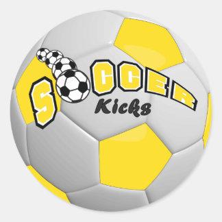 Soccer Ball Players Kicks | Yellow Round Sticker