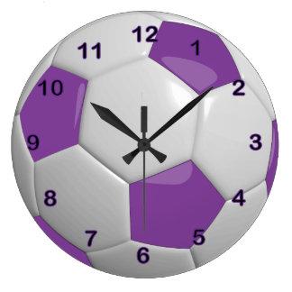 Soccer Ball | Purple Large Clock