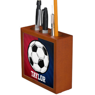 Soccer Ball; Red, White, and Blue Desk Organiser