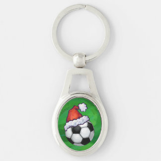 Soccer Ball Santa Hat on Green Silver-Colored Oval Key Ring