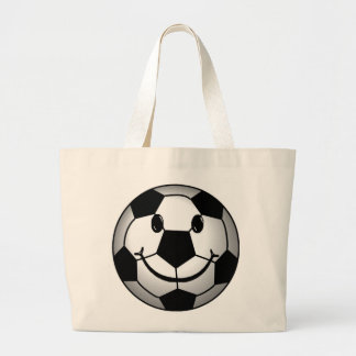 Soccer Ball Smiley Face Large Tote Bag