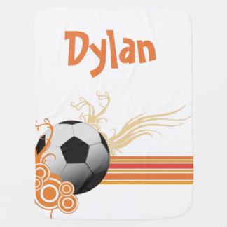 Soccer Ball Sports Game Personalized Name Baby Blanket