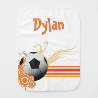 Soccer Ball Sports Game Personalized Name Burp Cloth