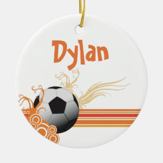 Soccer Ball Sports Game Personalized Name Ceramic Ornament