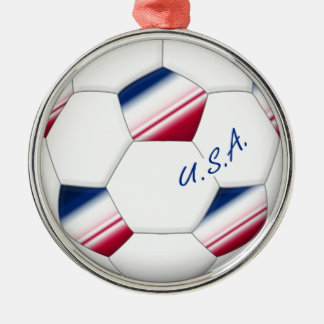 "Soccer ball ""U.S.A."". Ball of Soccer of the USA Metal Ornament"
