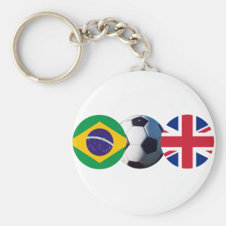 Soccer Ball UK & Brazil Flags The MUSEUM Zazzle Key Chains