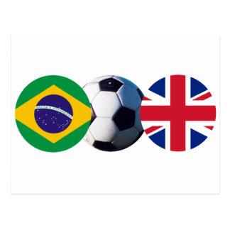 Soccer Ball UK & Brazil Flags The MUSEUM Zazzle Postcard