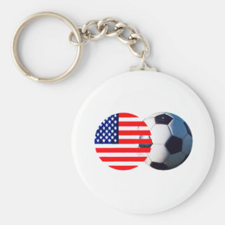 Soccer Ball & USA Flag The MUSEUM Zazzle Key Chains