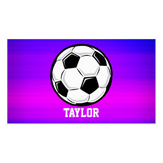 Soccer Ball; Vibrant Violet Blue and Magenta Double-Sided Standard Business Cards (Pack Of 100)